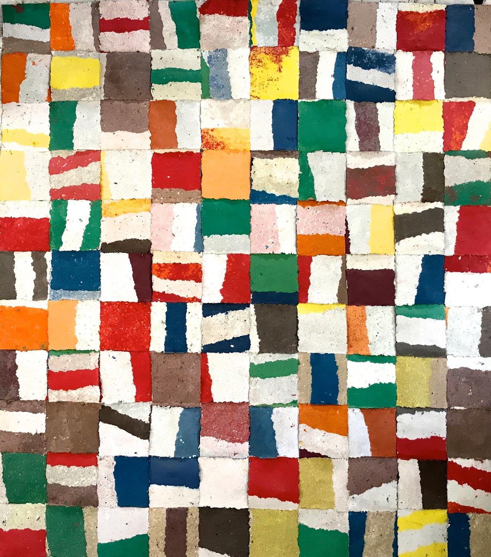 Bandes, 2010 200 cm x 200 cm (Pate à papier)© Françoise Paressant